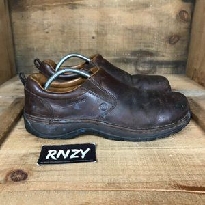 Red Wing Brown Leather Steel Toe Slip On Shoes